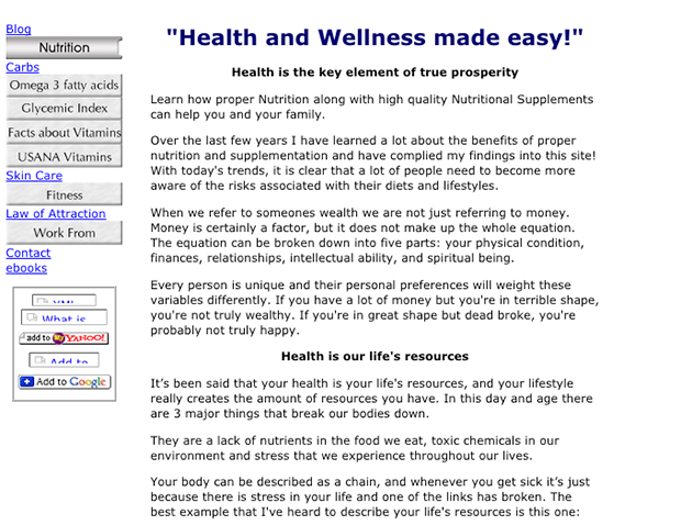 screenshot of an old health website