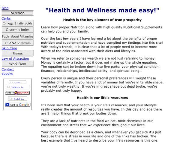 screenshot of an old health website