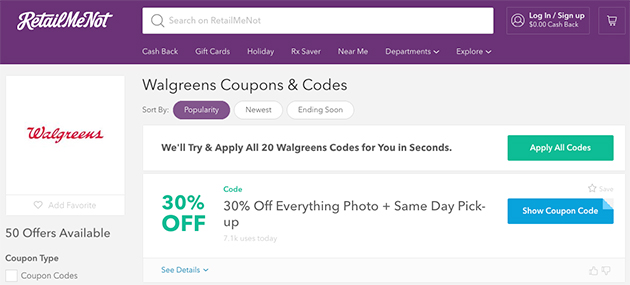 screenshot of coupon codes on retail me not