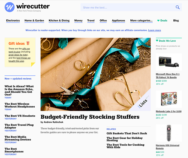 screenshot of the wire cutter's homepage