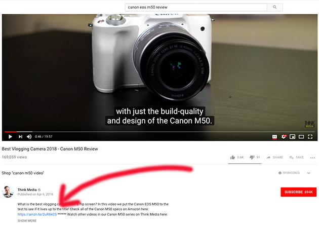 Youtube video which has affiliate links in it