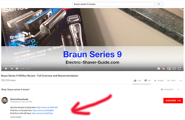 YouTube description with affiliate links